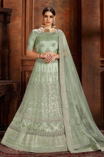 Delicate Net Pista Zari Work And Thread Work Lehenga Choli And Dupatta