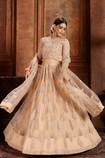 Elegant Net Peach Zari Work And Thread Work Lehenga Choli And Dupatta
