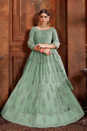 Gorgeous Green Zari Work And Thread Work Net Lehenga Choli And Dupatta