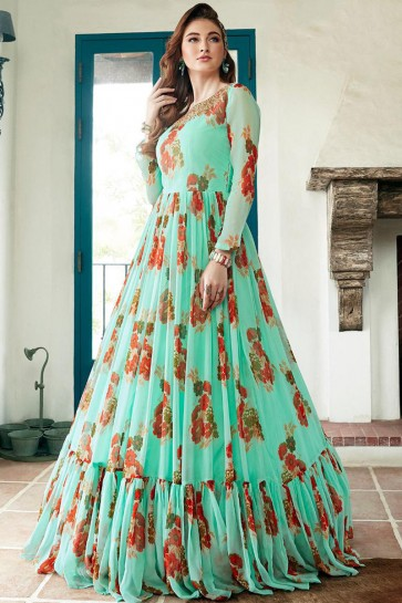 Faux Georgette Light Green Hand Work And Printed Abaya Style Anarkali Suit And Dupatta