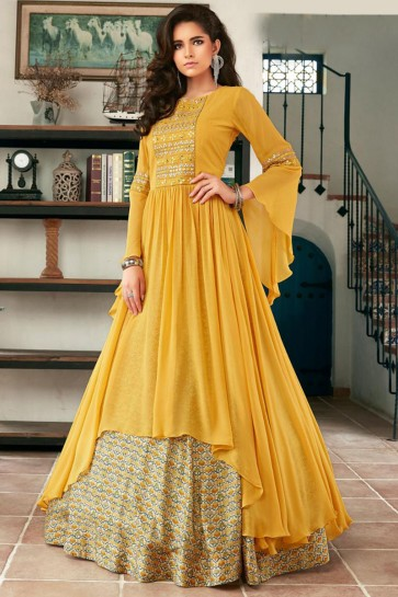 Faux Georgette Mustard Hand Work Abaya Style Anarkali Suit With Net Dupatta