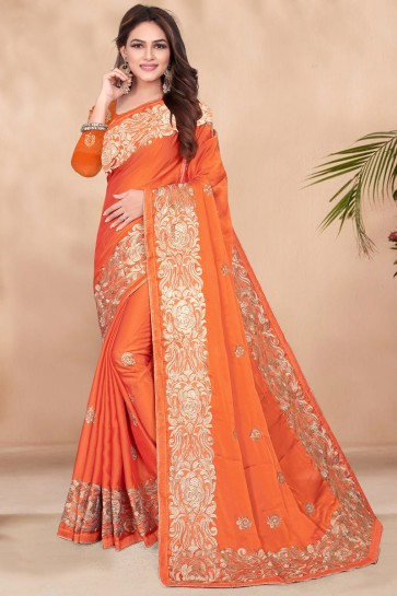 Party Wear Sequins Work Rangoli Fabric Designer Orange Saree And Blouse