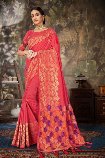 Embroidered And Jacquard Work Pink Silk And Linen Fabric Saree And Blouse