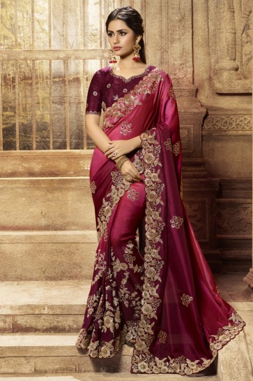 Wedding Wear Maroon Embroidered Designer Silk Fabric Saree And Blouse
