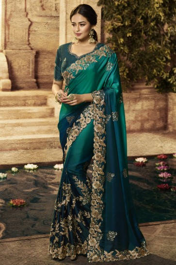Wedding Wear Silk Fabric Embroidery Work Teal Stylish Saree And Blouse
