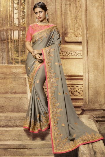 Wedding Wear Solid Embroidered Designer Grey Satin Fabric Saree And Blouse
