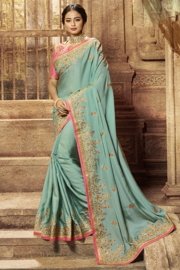 Wedding Wear Satin Fabric Sky Blue Embroidered Lovely Saree And Blouse