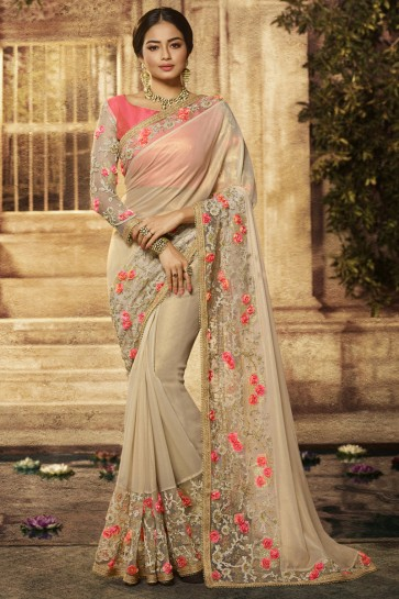 Wedding Wear Beige Cotton Fabric Embroidery Work Beautiful Saree And Blouse