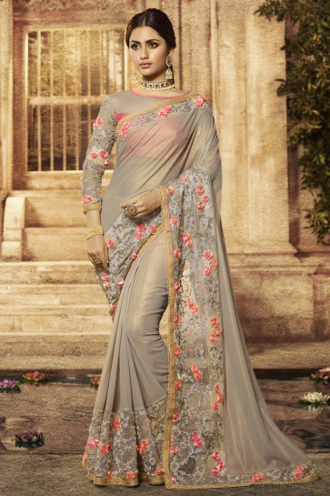 Wedding Wear Grey Embroidered Designer Cotton Fabric Saree And Blouse
