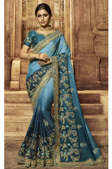 Wedding Wear Sky Blue And Grey Embroidered Designer Saree And Blouse