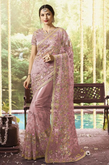 Net Fabric Wine Embroidery And Stone Work Designer Saree And Blouse