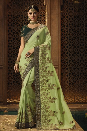Silk Fabric Light Green Stone Work And Embroidered Designer Saree And Blouse