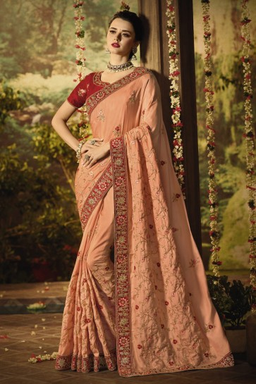 Awesome Peach Stone Work And Embroidered Designer Silk Fabric Saree And Blouse
