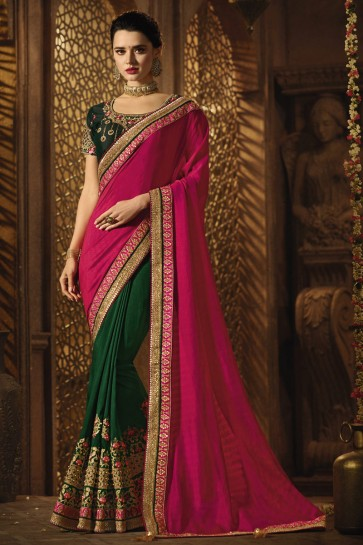 Green And Pink Silk Fabric Embroidered And Stone Work Saree With Art Silk Blouse