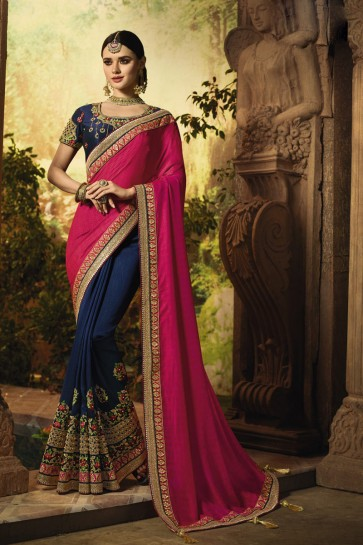 Royal Blue Stone Work And Embroidered Silk Fabric Saree With Art Silk Blouse