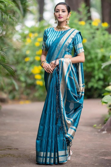 Appealing Silk Sky Blue Weaving Work Saree With Border Work Blouse