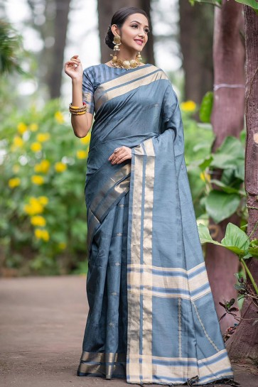 Pretty Silk Weaving Work Grey Saree With Border Work Blouse