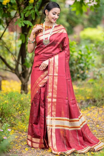Party Silk Wear Red Weaving Work Saree And Blouse