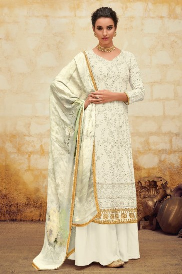 Gorgeous Faux Georgette Embroidered Off White Plazzo Suit With Chiffon Dupatta