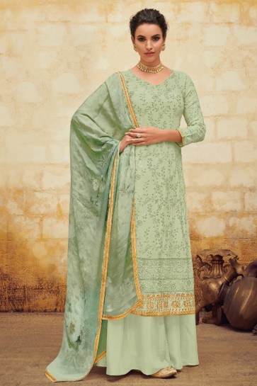 Pista Faux Georgette Embroidered Salwar Suit Plazzo Suit With Chiffon Dupatta
