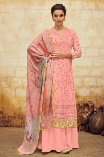 Marvelous Pink Embroidered Faux Georgette Kameez With Cotton Dupatta