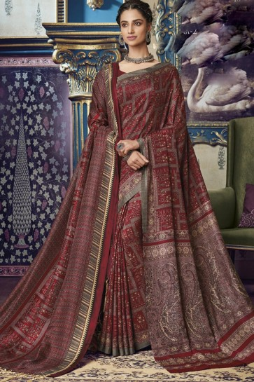 Party Wear Maroon Printed Designer Art Silk Fabric Saree And Blouse