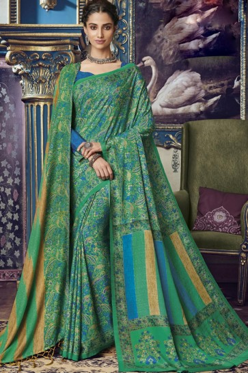 Awesome Green Printed Designer Art Silk Fabric Saree And Blouse