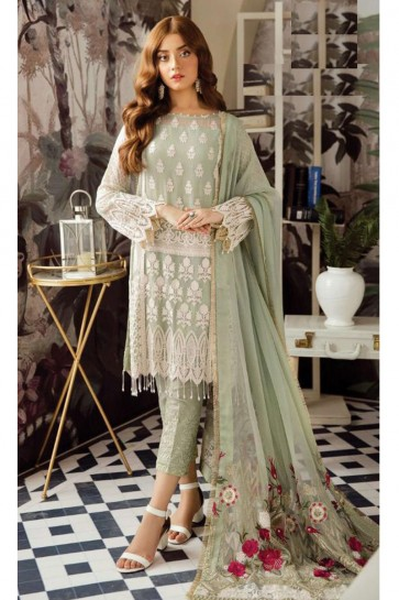 Pista Embroidered Georgette Salwar Suit With Nazmin Dupatta
