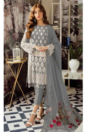Delightful Grey Embroidered Georgette Salwar Suit With Nazmin Dupatta