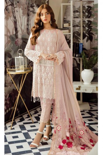 Marvelous Peach Embroidered Georgette Salwar Kameez With Nazmin Dupatta