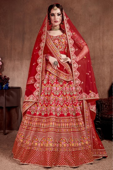Thread Work And Sequence Embroidered Red Silk Fabric Lehenga Choli With Net Dupatta