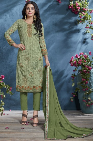 Cotton Mehendi Green Printed And Sequence Embroidered Salwar Suit With Chiffon Dupatta