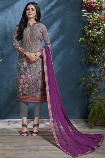 Printed And Sequence Embroidered Grey Cotton Fabric Salwar Suit And Viscose Bottom