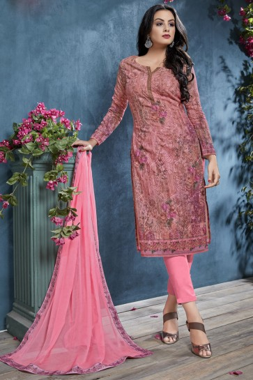 Sequence Embroidery And Printed Pink Cotton Fabric Salwar Suit With Chiffon Dupatta