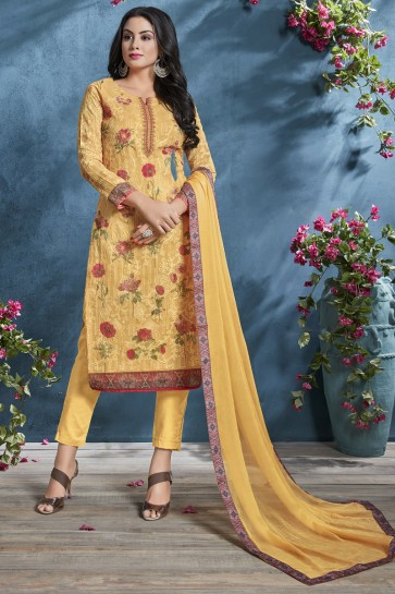 Yellow Sequence Embroidery And Printed Cotton Fabric Salwar Suit With Chiffon Dupatta