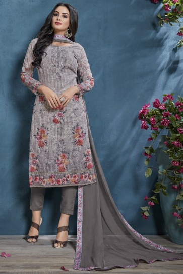 Lovely Grey Printed And Sequence Embroidered Cotton Fabric Salwar Suit And Viscose Bottom