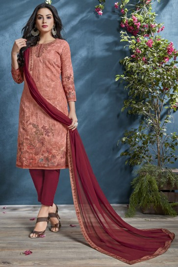 Supreme Cotton Fabric Peach Printed And Sequence Embroidered Salwar Suit With Chiffon Dupatta
