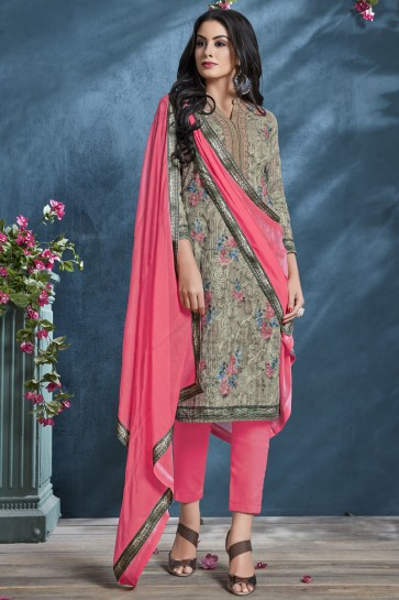 Mehendi Green Sequence Embroidery And Printed Cotton Salwar Suit With Chiffon Dupatta
