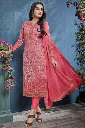 Elegant Cotton Fabric Pink Sequence Embroidery And Printed Salwar Suit With Chiffon Dupatta