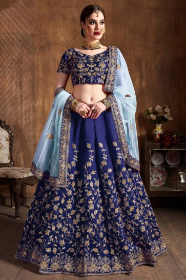 Navy Blue Sequence Embroidered Silk Fabric Lehenga Choli With Net Dupatta