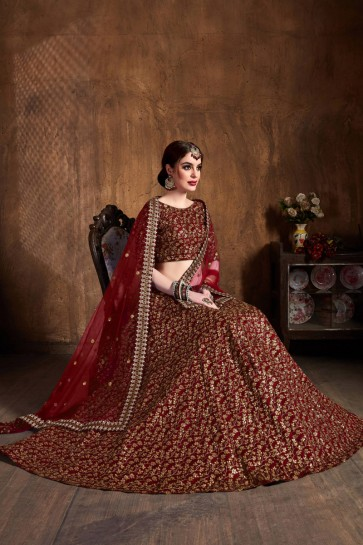 Embroidered And Sequins Work Maroon Silk Lehenga Choli With Net Dupatta
