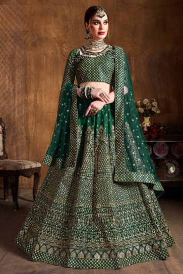Supreme Green Art Silk Sequins Work And Zari Work Lehenga Choli And Dupatta