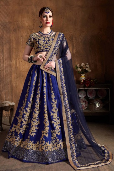 Gorgeous Royal Blue Sequins Work And Zari Work Art Silk Lehenga Choli With Net Dupatta