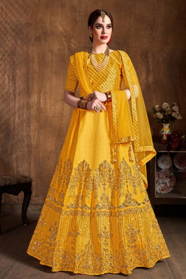 Graceful Art Silk Sequins Work And Zari Work Yellow Lehenga Choli With Net Dupatta