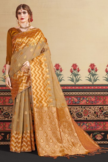 Khaki Linen Art Silk Fabric Thread Work Designer Lovely Saree And Blouse