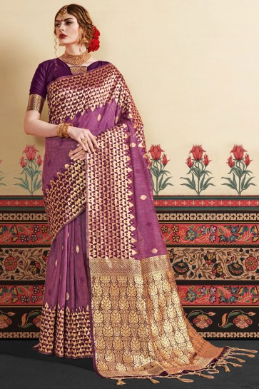Purple Linen Art Silk Fabric Thread Work Designer Saree And Blouse
