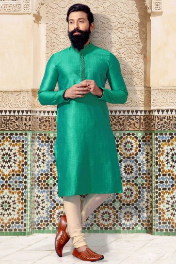 Fascinating Light Green Thread Work Jacquard Fabric Kurta Pajama