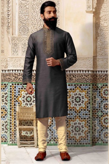 Marvelous Thread Work Black Silk Febric Kurta Pajama