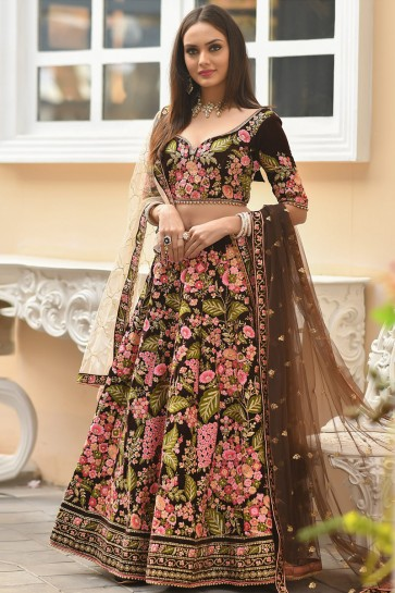 Coffee Stone Work And Zari Work Velvet Fabric Designer Lehenga Choli With Net Dupatta