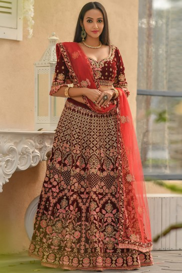 Zari Work And Resham Work Velvet Fabric Maroon Designer Lehenga Choli With Net Dupatta